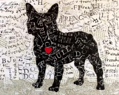 French Bulldog Silhouette w Heart